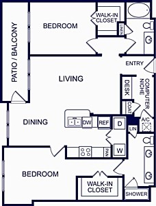 1,228 sq. ft. SEVILLE SIX floor plan