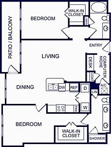 1,228 sq. ft. Seville Six floor plan