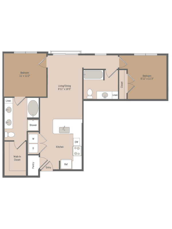 921 sq. ft. B4 floor plan
