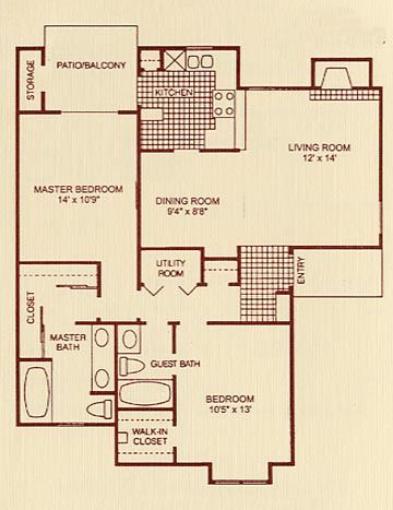 1,100 sq. ft. 2B floor plan