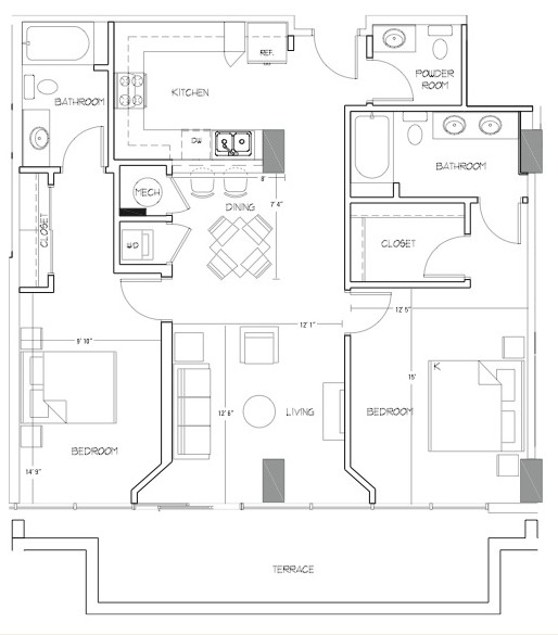 1,256 sq. ft. B8 floor plan