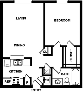 680 sq. ft. Seville floor plan
