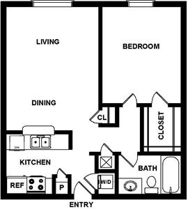680 sq. ft. Seville floor plan