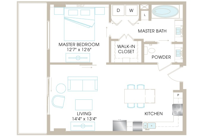 828 sq. ft. A4a floor plan