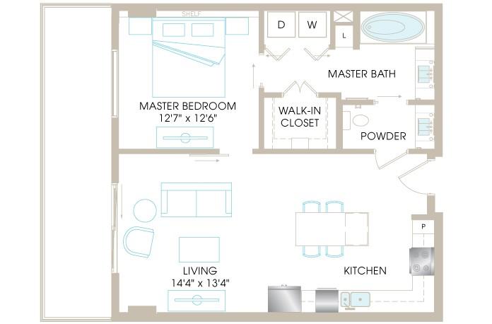 828 sq. ft. A4a floor plan