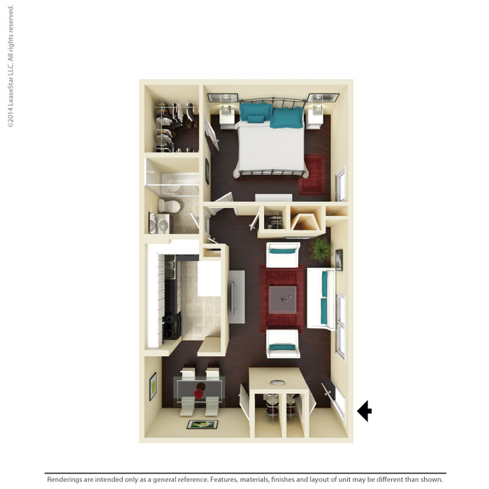 682 sq. ft. A2 floor plan