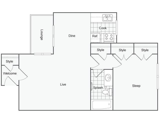 700 sq. ft. Cypress floor plan