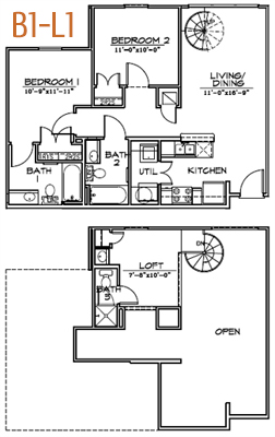 745 sq. ft. A-L1 floor plan