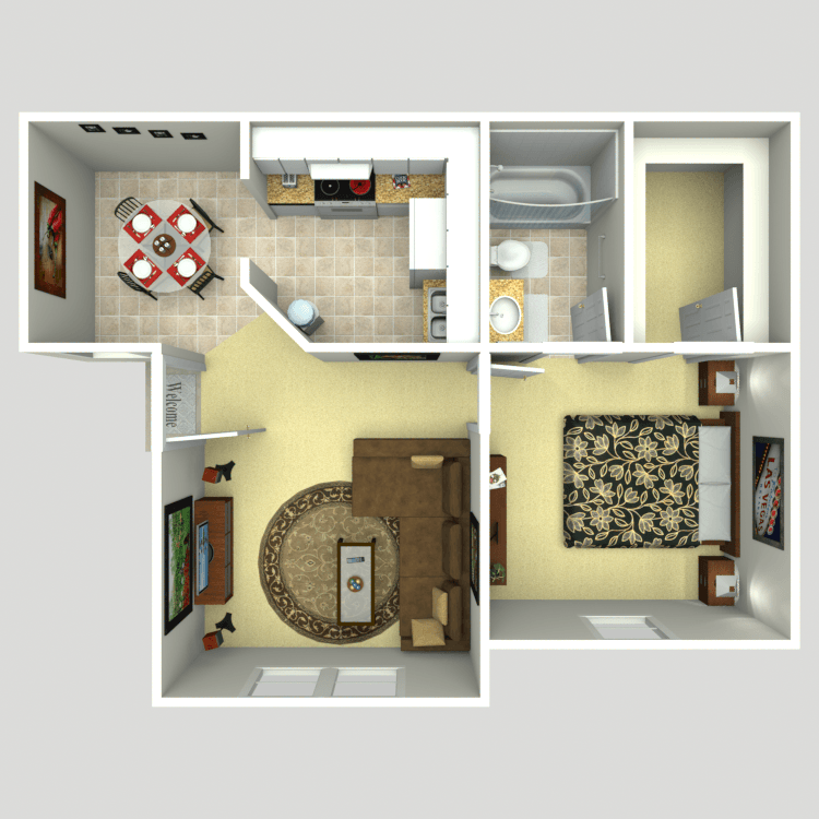 523 sq. ft. 1A floor plan