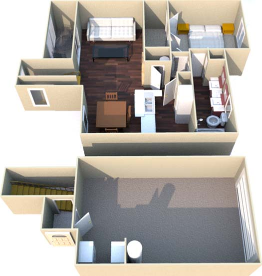 801 sq. ft. B floor plan