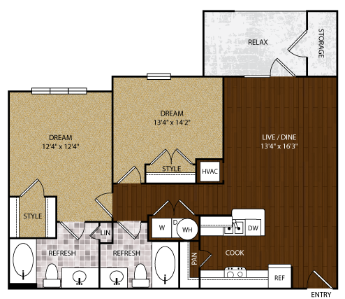 966 sq. ft. B-1 floor plan