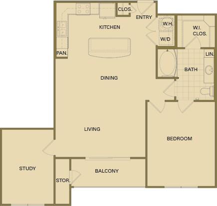988 sq. ft. B4 floor plan