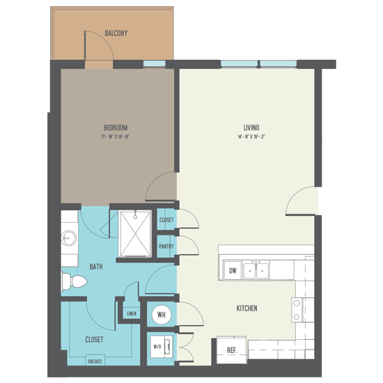 843 sq. ft. A6-A floor plan