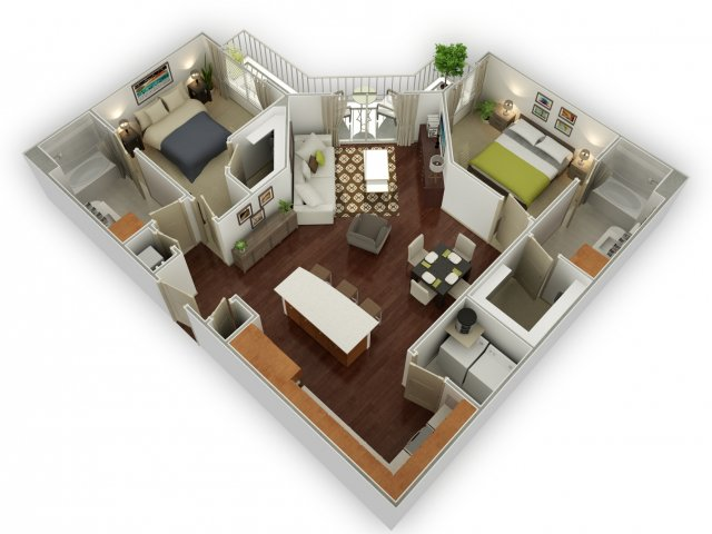 1,230 sq. ft. B2 floor plan