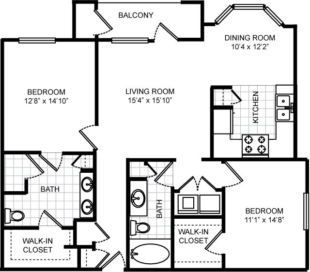 1,250 sq. ft. C3 floor plan