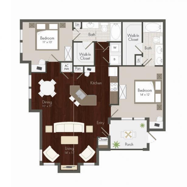 1,268 sq. ft. Bay Hill floor plan