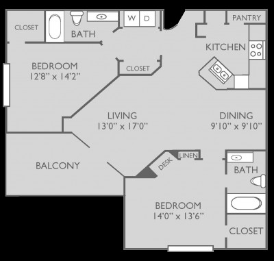 1,166 sq. ft. Marathon floor plan