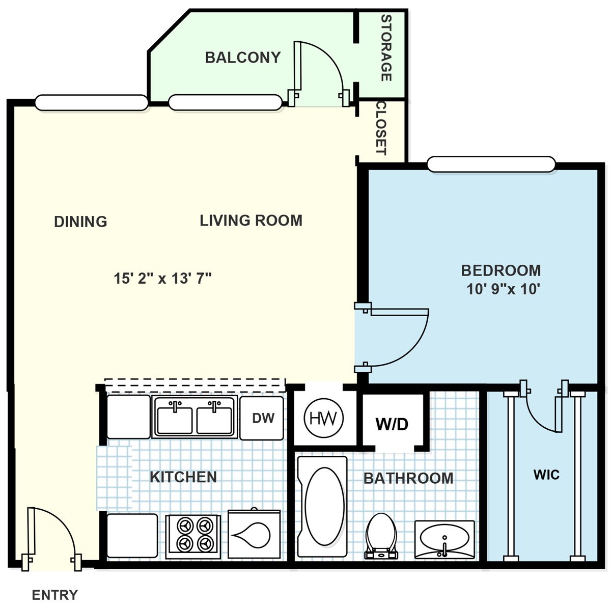 592 sq. ft. E1 floor plan