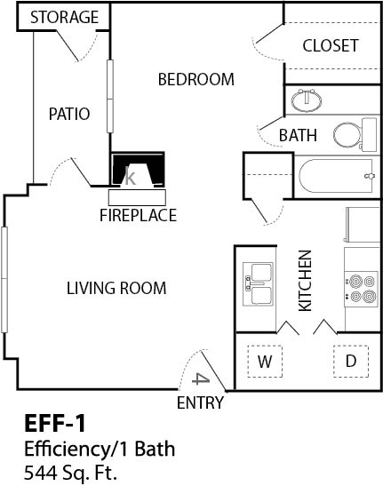 544 sq. ft. E1 floor plan
