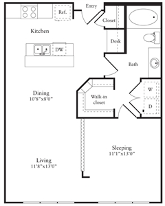 742 sq. ft. C floor plan