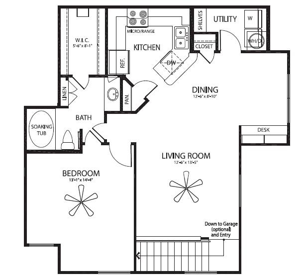 929 sq. ft. Cedar/G floor plan