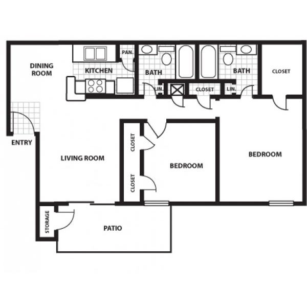 856 sq. ft. E floor plan