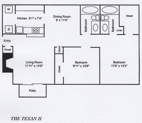 908 sq. ft. B2 floor plan