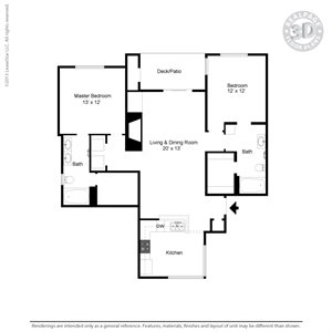 1,068 sq. ft. C4B floor plan