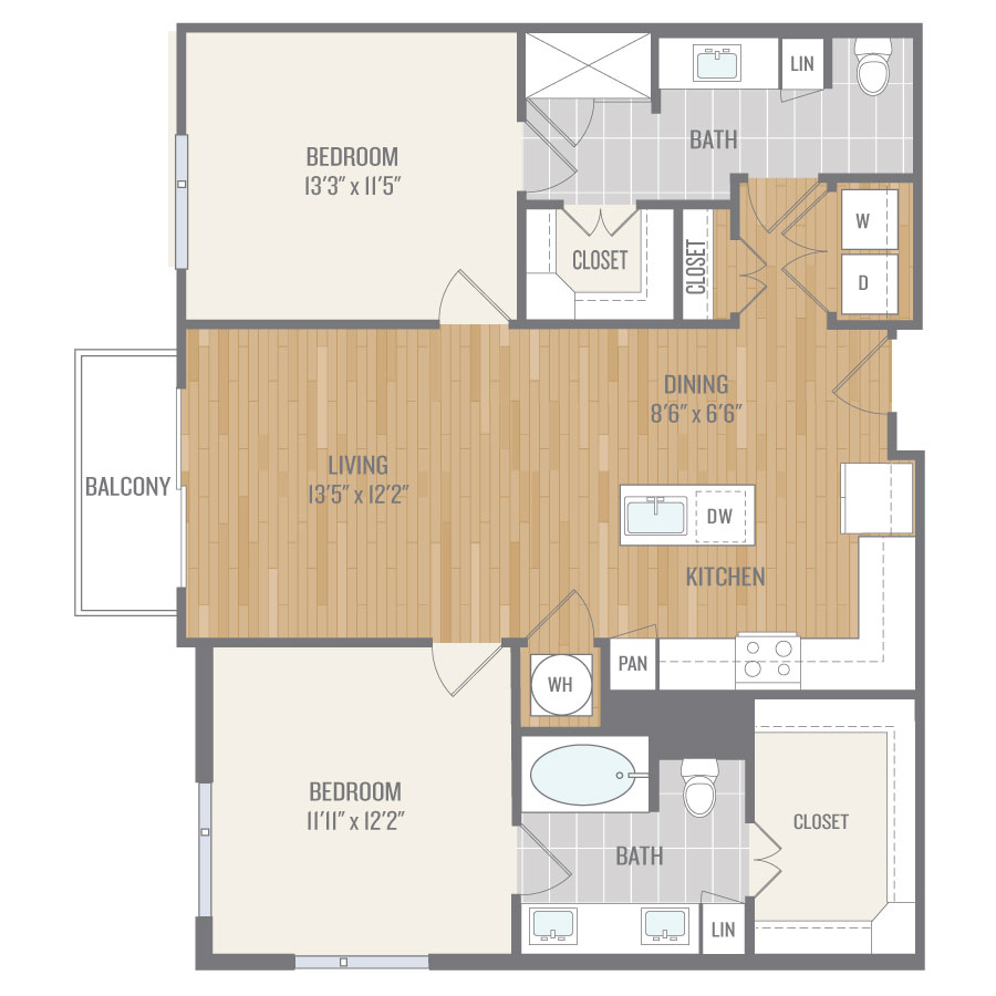 1,122 sq. ft. B2 floor plan