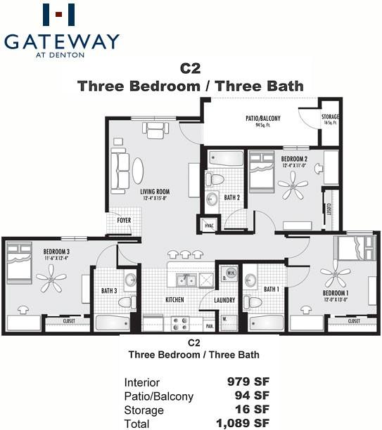 1,089 sq. ft. C2 floor plan