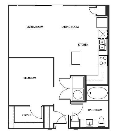 714 sq. ft. A1-A floor plan