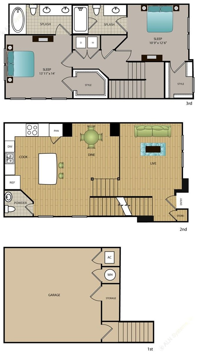1,391 sq. ft. TH-B2 floor plan