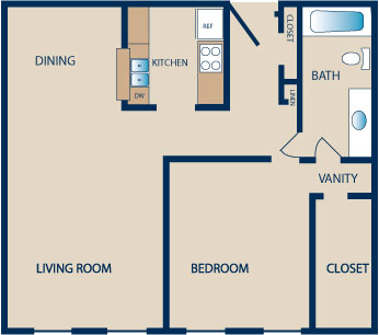 850 sq. ft. C1-C2 floor plan