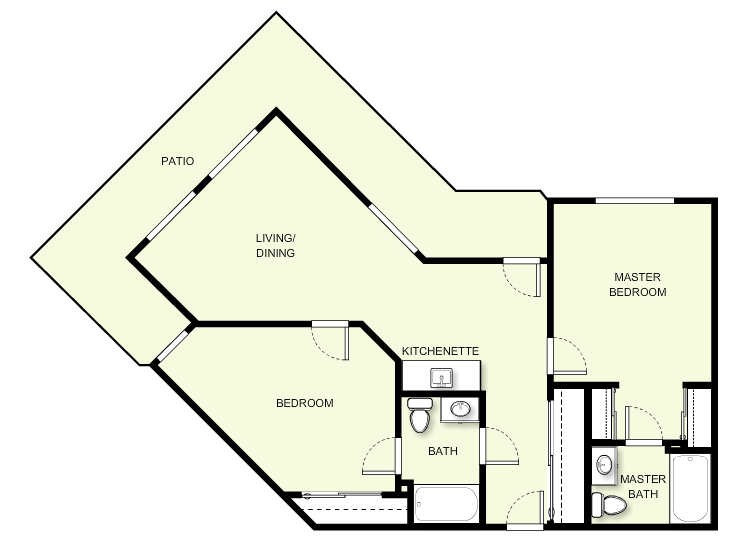 904 sq. ft. C5 floor plan