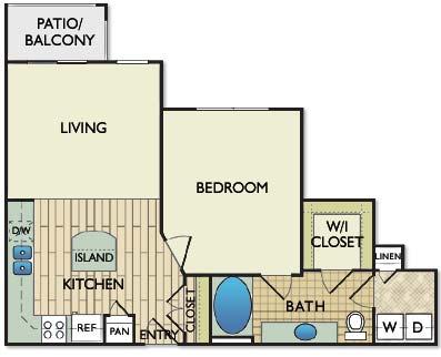 700 sq. ft. Renoir floor plan
