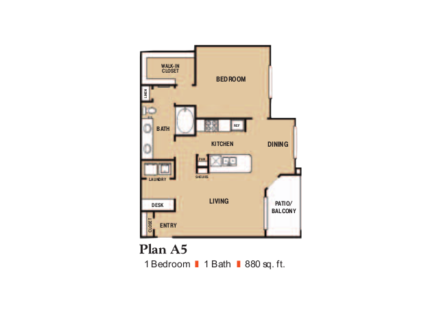 880 sq. ft. A5 floor plan