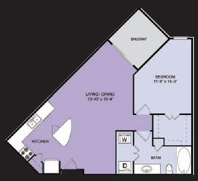 781 sq. ft. A7 floor plan