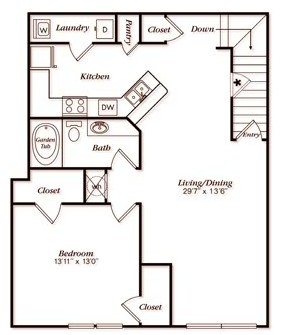 1,184 sq. ft. B12X floor plan