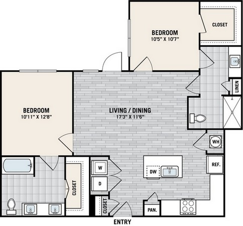 1,038 sq. ft. B3A floor plan