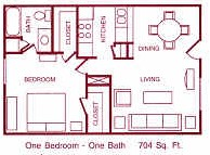 704 sq. ft. B&C floor plan