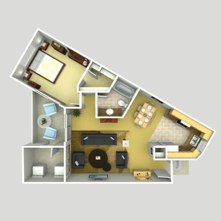 748 sq. ft. A-5 floor plan