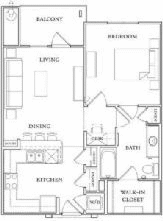 752 sq. ft. A1-50% floor plan