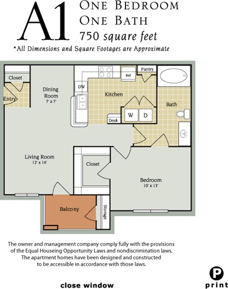 750 sq. ft. A1/60 floor plan