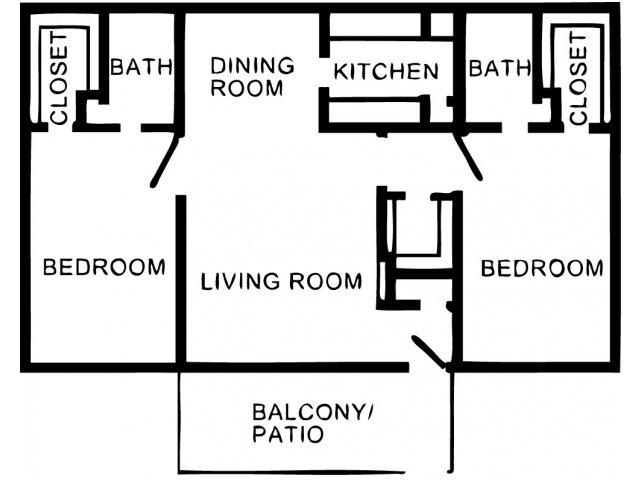 1,088 sq. ft. B1 floor plan
