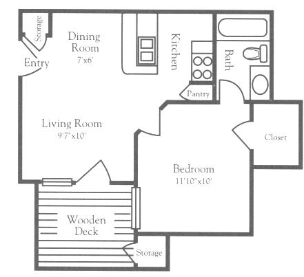 456 sq. ft. A1 Classic floor plan