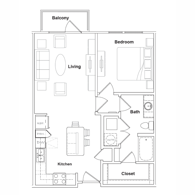 695 sq. ft. to 743 sq. ft. Marfa floor plan