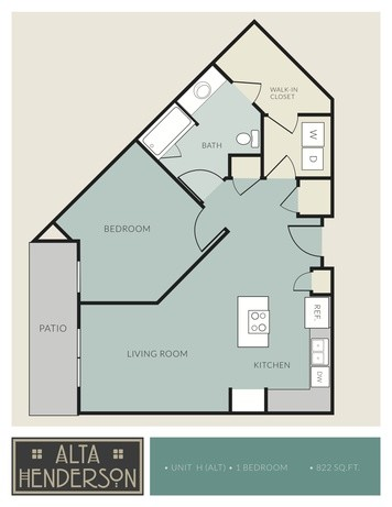 822 sq. ft. H floor plan