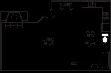 672 sq. ft. E1-50% floor plan