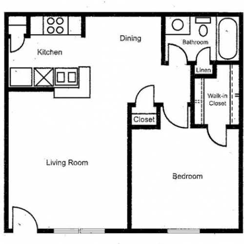 610 sq. ft. to 633 sq. ft. floor plan