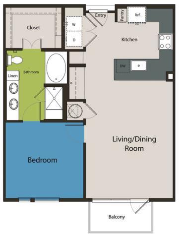 832 sq. ft. A4 floor plan